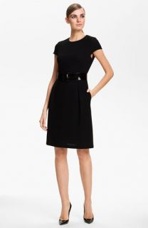 St. John Collection Jewel Neck Punto Riso Dress
