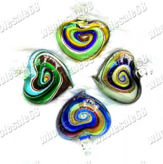 Wholesale Lots 20pcs Helix in Charm Murano Glass Bead Heart Pendant