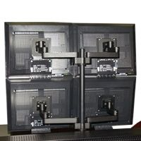 Articulating Quad LCD Computer Monitor Flat Panel Mount Four 4 Screens