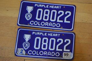 Vintage Obsolete Colorado Colo Purple Heart License Plate NoRes