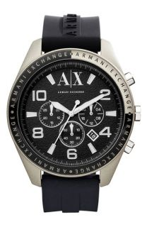 AX Armani Exchange Round Silicone Strap Watch