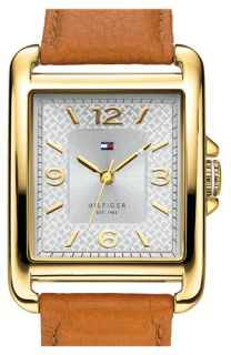 Tommy Hilfiger Rectangle Leather Strap Watch