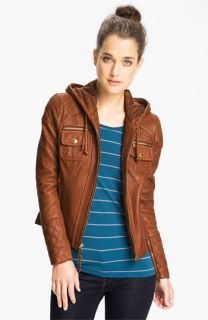 MICHAEL Michael Kors Hooded Leather Jacket