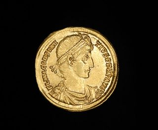 Ancient Roman Gold Solidus Coin of Emperor Constantius II