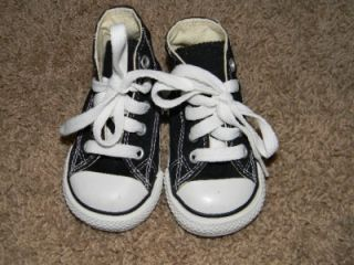 Converse Infant Toddler Boys Size 3 Black High Top Tennis Shoes No