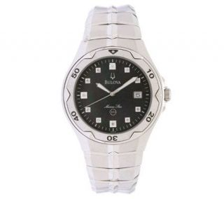 Bulova Mens Marine Star Diamond Accent Dial Watch —