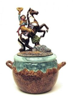 Cowgirl on Horse Cookie Jar Western Decor Kitchen Canister Ceramic New