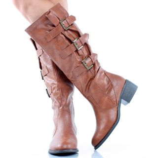 Cognac Distressed Faux Leather Buckle Chunky Womens Heel Knee High
