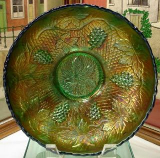 Fenton Concord Grape Green Carnival Glass 7 3 4 Bowl 1907 1922 No