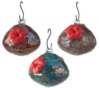 Set of 3 Sequin Glass Hummingbird Feeders by Bird Brain —