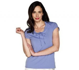 Isaac Mizrahi Live Short Sleeve Top with Neck Tie Detail —