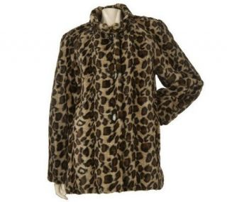 Dennis Basso Leopard Print Faux Fur Mock Neck Swing Coat —