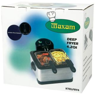 Maxam 4qt Electric Deep Fryer Cooker 1700 watts, 3 Frying Baskets 5yr