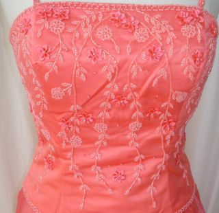 Formal Ball Gown Dress Party Gala Prom Pageant Coral Sz 10 New