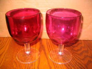 Vtg Depression Era Cranbury Thumbprint Glass GobletS