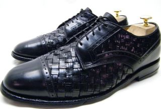 Mens Allen Edmonds Crandon Black Woven Leather Oxford Dress Shoes Sz 9