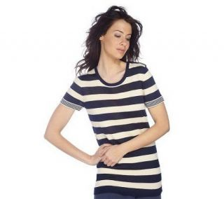 Isaac Mizrahi Live Short Sleeve Stripe Tunic w/ Button Detail