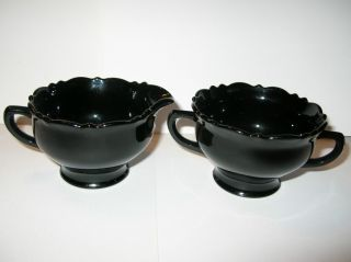 Depression Era Black Amethyst Glass Sugar Creamer Set