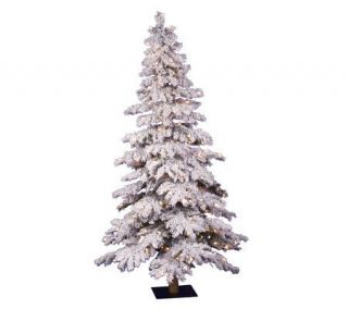 Prelit Flocked Alpine Spruce Tree w/Clr Lights by Vickerman —
