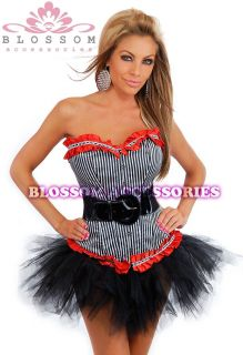 5091 Black Red Burlesque Moulin Rouge Costume Lolitta Corset Tutu