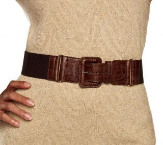 Isaac Mizrahi Live Stretch Belt with Croco Trim   A209783