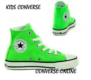 Kids Boys Girls Converse All Star Neon Green White Specialty Hi