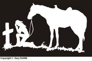 Pair of Cowgirl Praying at Cross Decal Sticker Horse 020