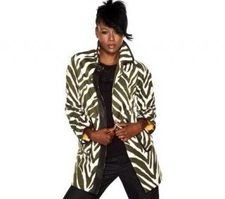 Isaac Mizrahi Live Animal Printed Button Front Coat   A203524
