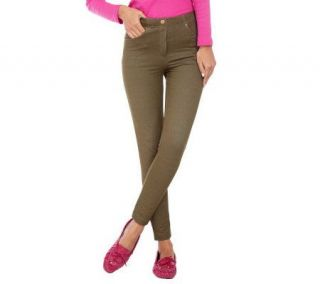 Isaac Mizrahi Live Pull On Knit Leggings with Faux Button   A210399