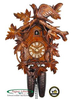 Black Forest Cuckoo Clock 8 Day 9 Leaves Cuckoo New