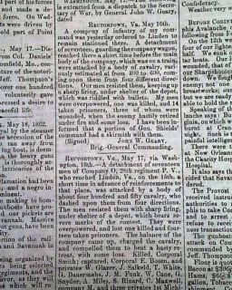 Corinth MS More 1862 Pittsburgh PA Civil War Newspaper
