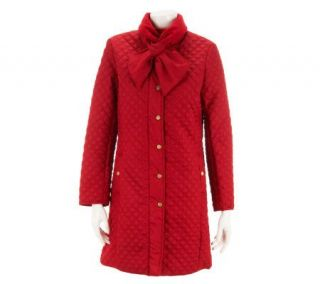 Isaac Mizrahi Live Quilted Coat with Adjustable Scarf   A227264