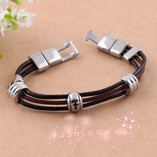 Fresh Jewelry Men Leather Cross Round Bead Bracelet