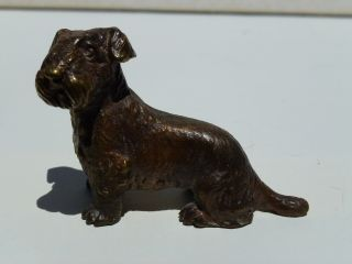 RARE Antique Austrian Vienna Bronze Sealyham or Scottish Terrier Dog 3