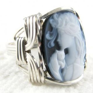 Fine Lady Cat Agate Cameo Ring Sterling Silver Custom Jewelry