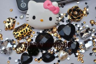 Kitty Golden Leopard DIY Bling Case Cover for iPhone 4 4S HTC