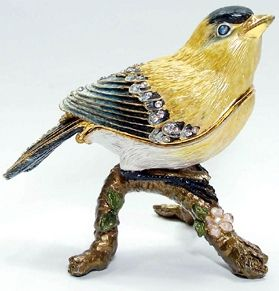 Canary Exotic Bird Austrian Crystal Trinket Jewelry Box