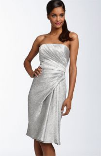 Maggy London Side Drape Strapless Jacquard Dress