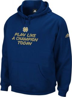 Notre Dame Fighting Irish Adidas Playbook II Navy Fleece Hoodie Mens