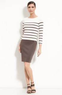 St. John Collection Bateau Neck Stripe Knit Dress