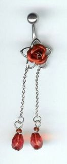 Beautiful Red Rose Dangling Belly Ring