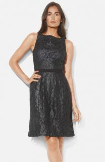 Lauren Ralph Lauren Bateau Neck Metallic Lace Dress (Petite)