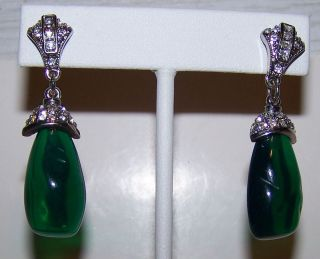LOVELY KENNETH JAY LANE KJL RHINESTONE LARGE GREEN STONE DROP PIERCED