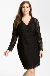 Adrianna Papell Lace Overlay Sheath Dress (Plus)