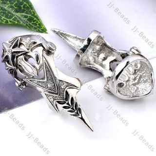 1P Crystal Knight Armour Long Full Finger Ring Cosplay Gothic Punk 4