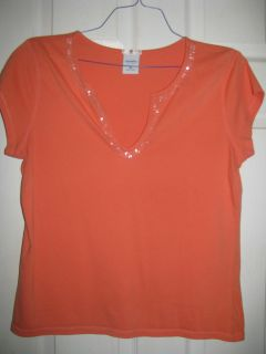 Womens Old Navy Blouse Sz XL Salmon with Beading Detail