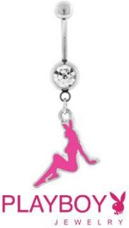 Playboy Pink Full Bunny Dangling Belly Ring Cute