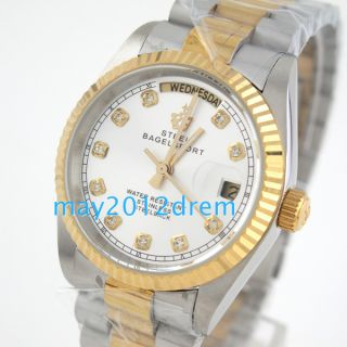 Luxury Calendar Date Day Mens Auto Mechanical Stainless Steel Watch