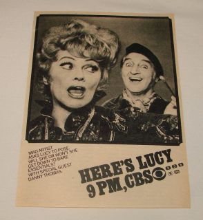 1973 CBS tv ad ~ HERES LUCY Lucille Ball, Danny Thomas
