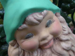 Vintage Garden Gnome Pixie Elf Lawn Ornament Ceramic